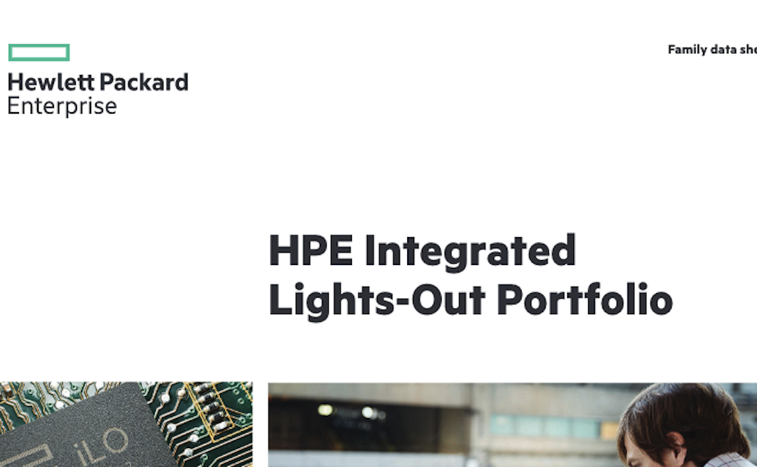 HPE Integrated Lights-Out Portfolio